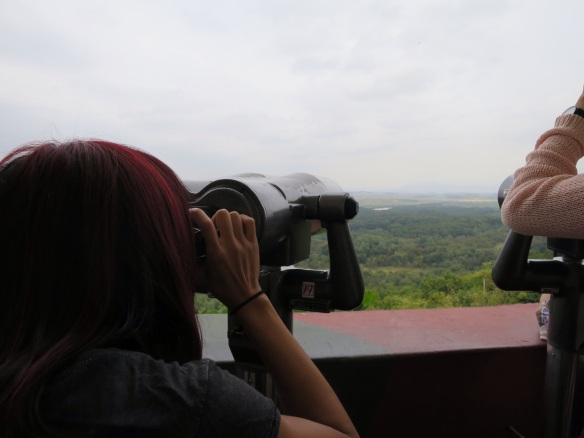 Peering through binoculars at Dorasan Observatory
